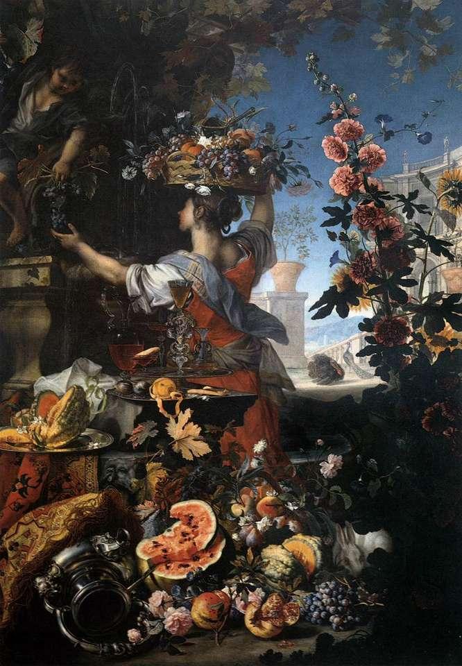 C. Berentz och Carlo Maratta, blommor och frukt - blommor och frukt, med kvinna (13×20)