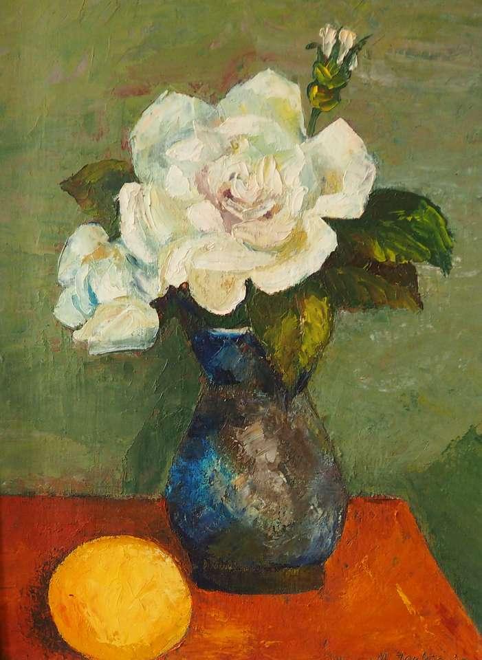 Rose i en vas - M. Jankiewicz, Rose in a Vase (fragment av en målning från samlingen av Regional Museum i Wągrowiec) (8×12)