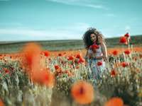 garota de camisa branca sentada em um campo de flores vermelhas