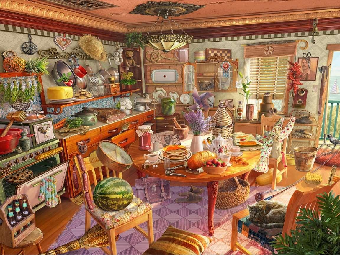 färgglatt kök - Kök, möbler, tallrikar, matvaror (11×9)