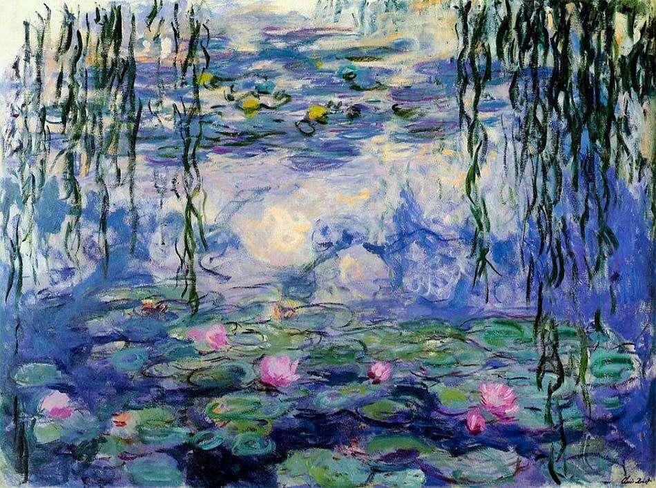 Nenúfares de Monet - Vá montando a pintura e converse com um adulto sobre o que você está imaginando ao olhar para as peças (12×9)