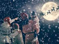 vedere la Moș Crăciun cu reni