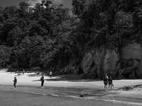 szürkeárnyalatos fénykép a strandon sétáló emberekről