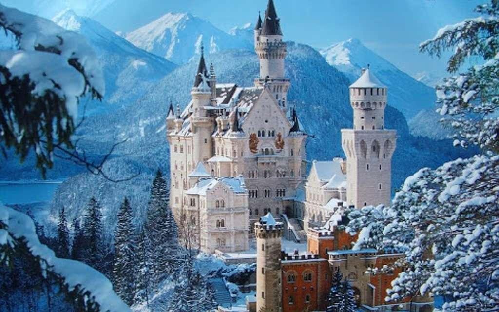 χειμωνιάτικη θέα - χειμερινή θέα του κάστρου στα βουνά (14×9)