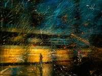 pictură abstractă albastră roșie și galbenă