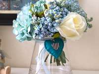 bouquet in a glass dish