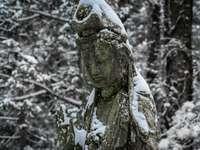 Busto de rostro humano de hormigón gris en la rama de un árbol cubierto