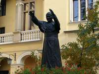 Monument to John Paul II in the courtyard of the Bishop's Palace