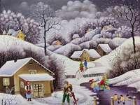 Invierno en el callejón y nieve