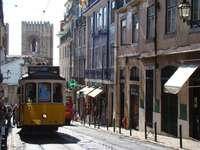 żółty i czerwony tramwaj na drodze w pobliżu budynku w ciągu dnia