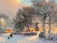 Село през зимата.