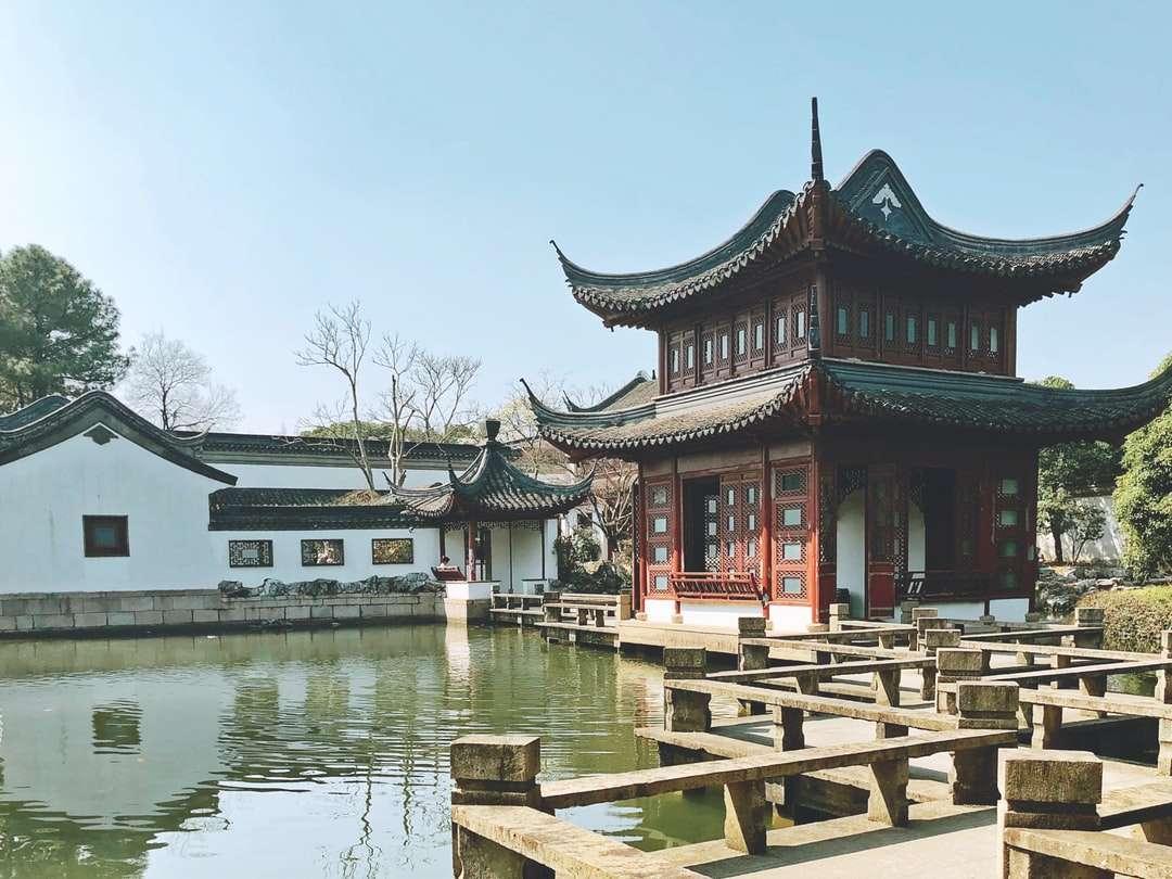 hnědá dřevěná lavička poblíž vodní plochy během dne - 中国 上海市 青浦 区 金 商 公路 上海 大观 园 (17×13)