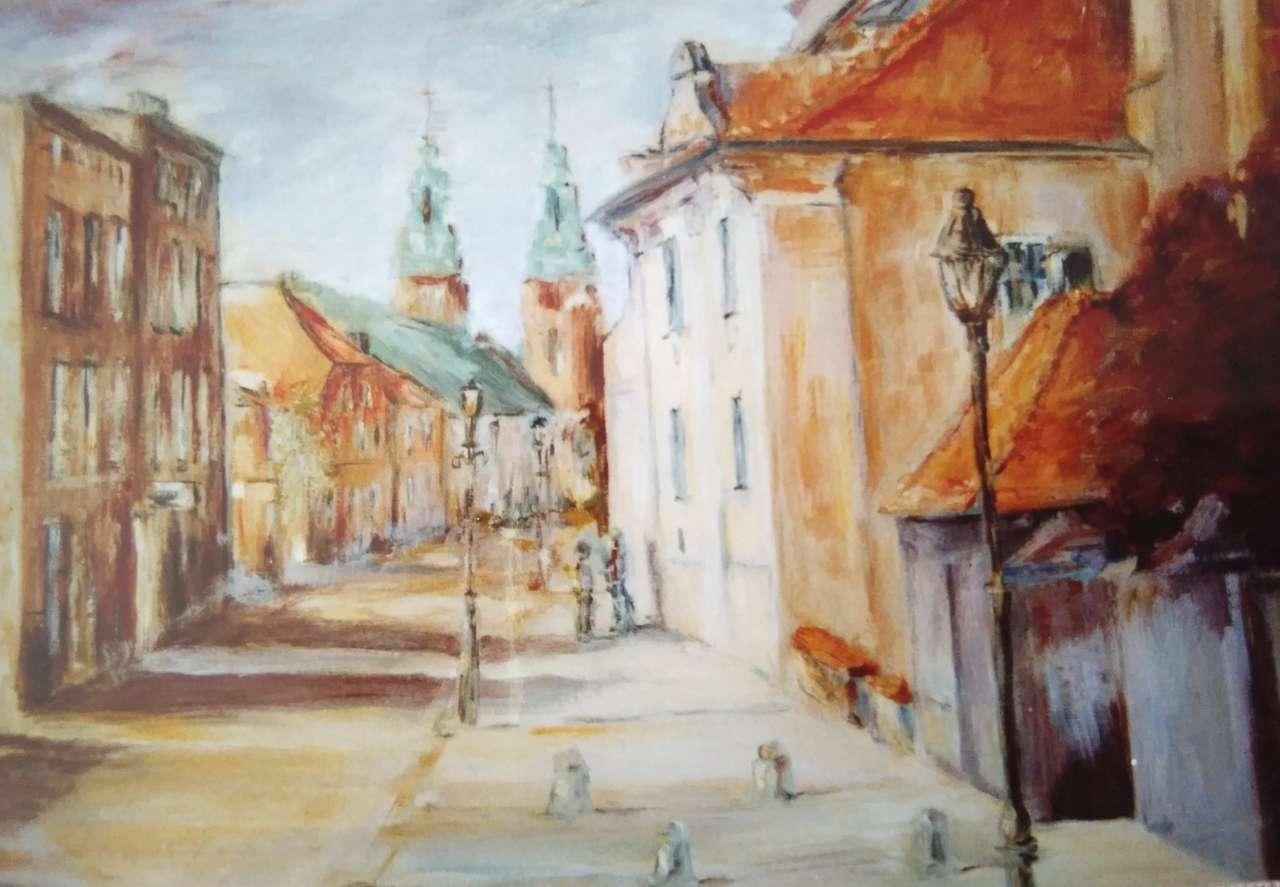 Gniezno, fragment. gator - Oljemålning, Gniezno street, (4×3)