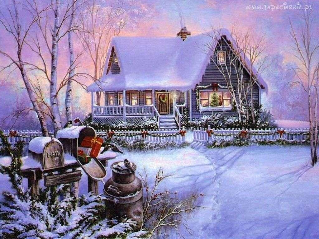 téli kép - havas táj a ház előtt (13×10)