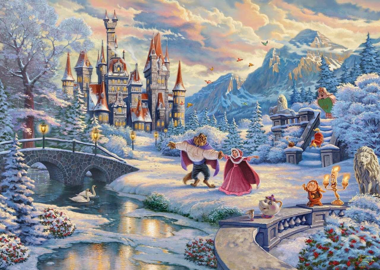 winter uitzicht - betoverd kasteel in winterjas (14×10)