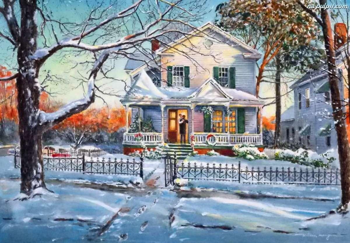 къща през зимата - зимен ден пред къщата (14×10)