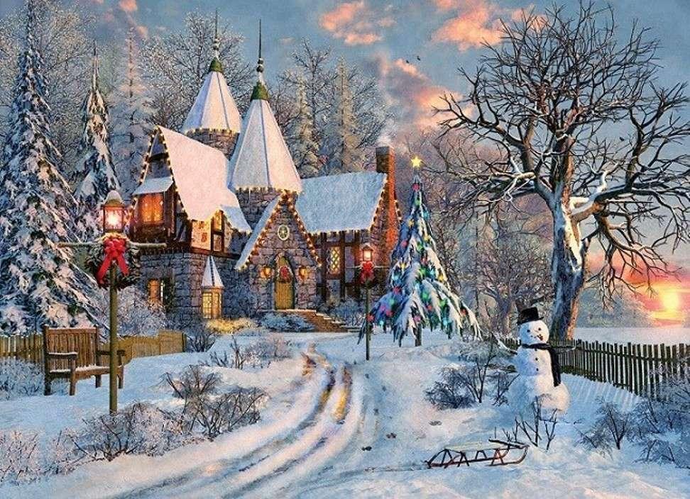 χειμωνιάτικη θέα - σπίτι και βραδινό δρόμο στο χιόνι (13×10)