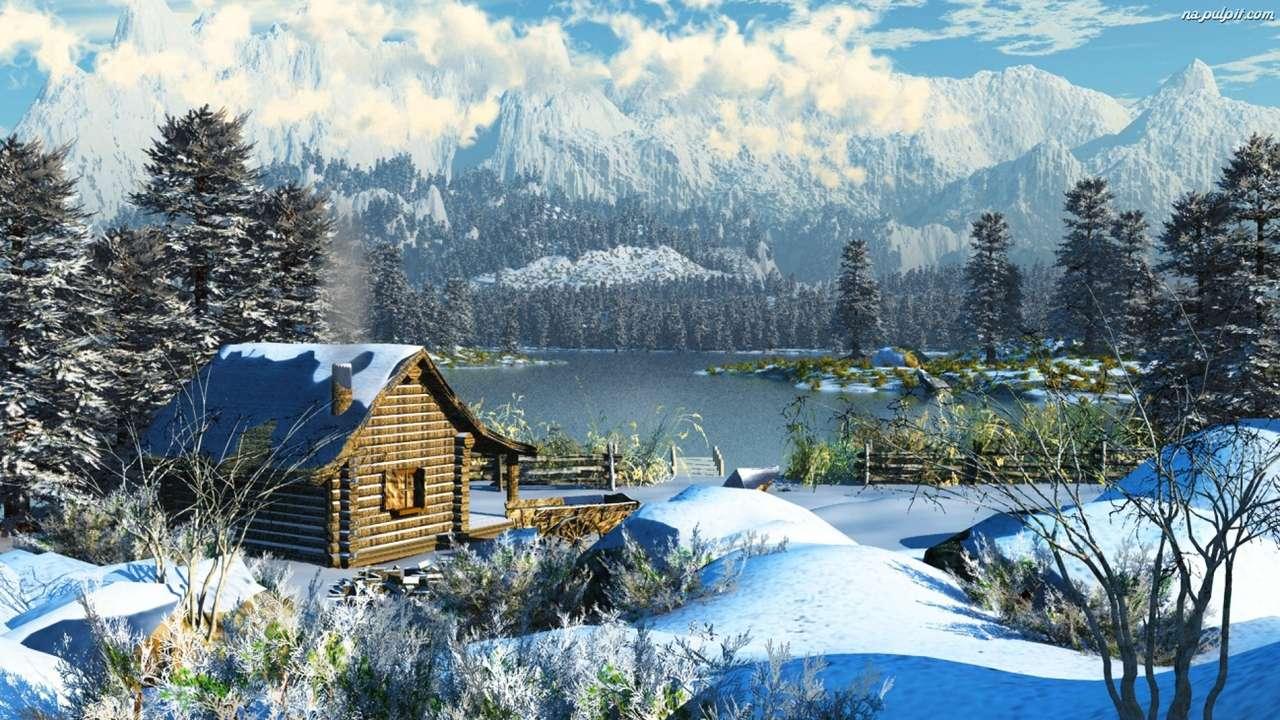 invierno en el lago - invierno en el lago en las montañas (16×9)