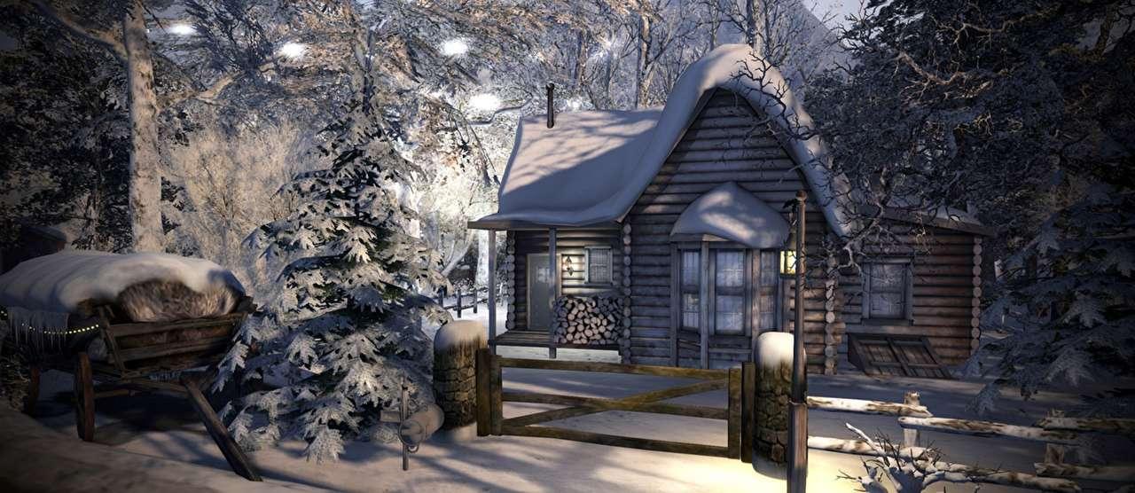 hus i snön - vacker vintervy på natten (18×8)