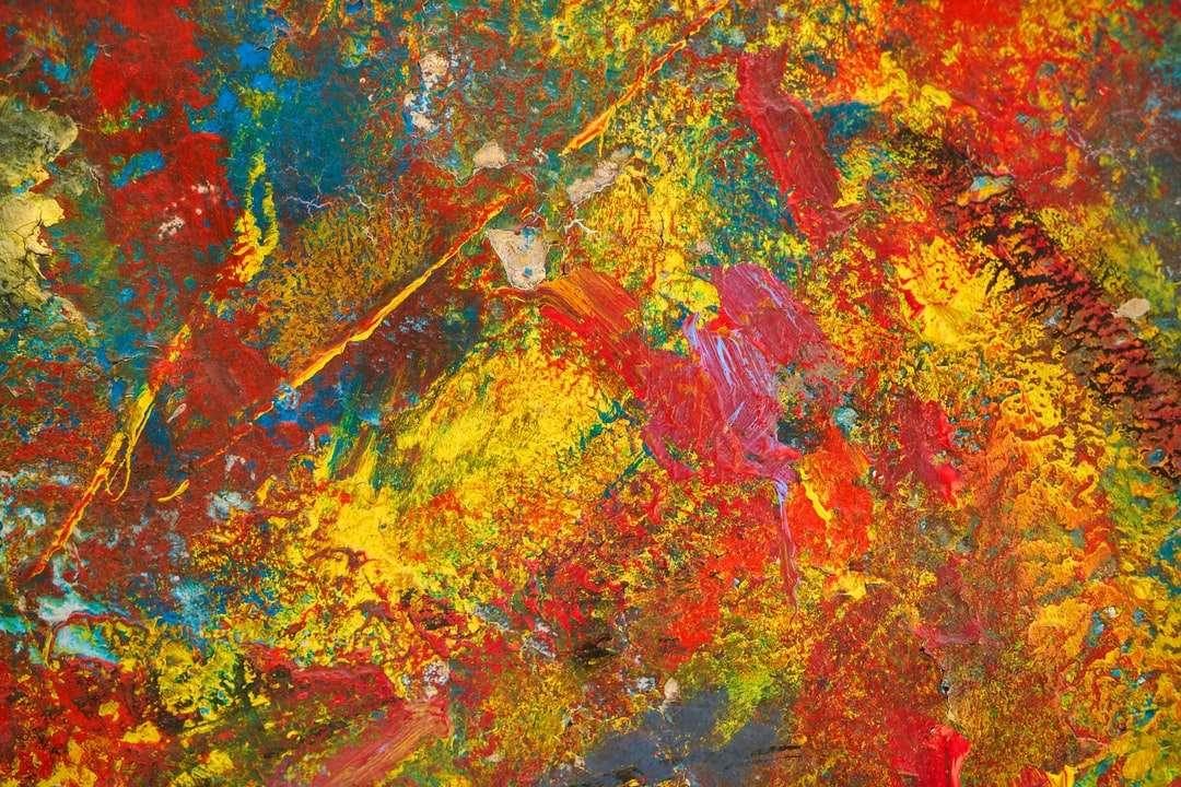 piros kék és zöld absztrakt festészet - színes fal textúra (15×10)
