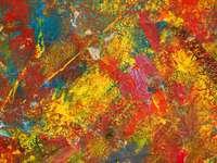 červená modrá a zelená abstraktní malba
