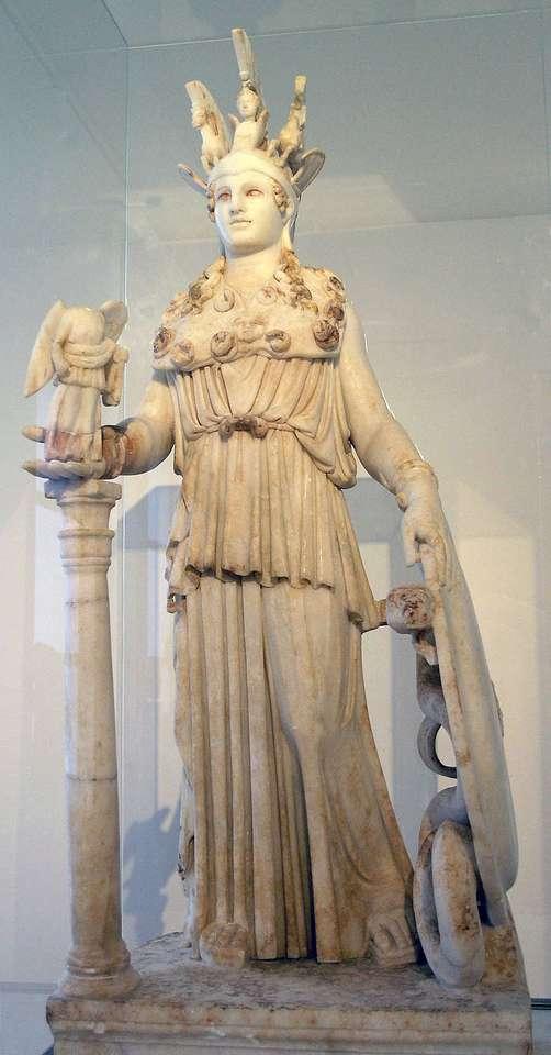 Αθηνά Παρθένος - Αθηνά Παρθένος - το λατρευτικό άγαλμα της Παναγίας της Αθηνάς, που έγινε στα χρόνια 447-438 π.Χ. από τον Φειδία για (2×5)