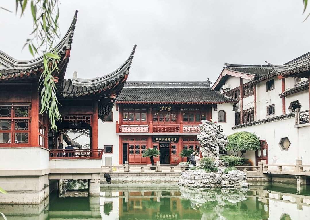 czerwono-biała świątynia w pobliżu zbiornika wodnego w ciągu dnia - 中国 上海市 上海 (15×11)