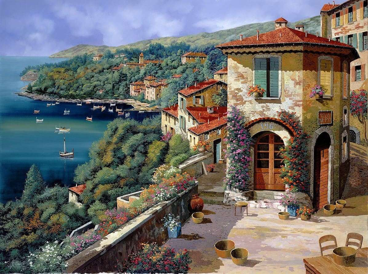 Изглед към морето - Живопис от Гуидо Борели (10×8)