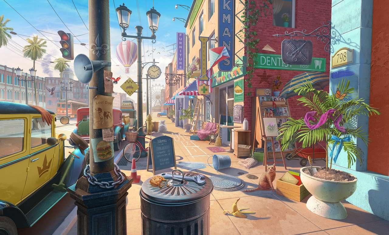 Ο δρόμος προς την πόλη - Οδός, πόλη, σπίτια, οχήματα, γάτα (13×8)