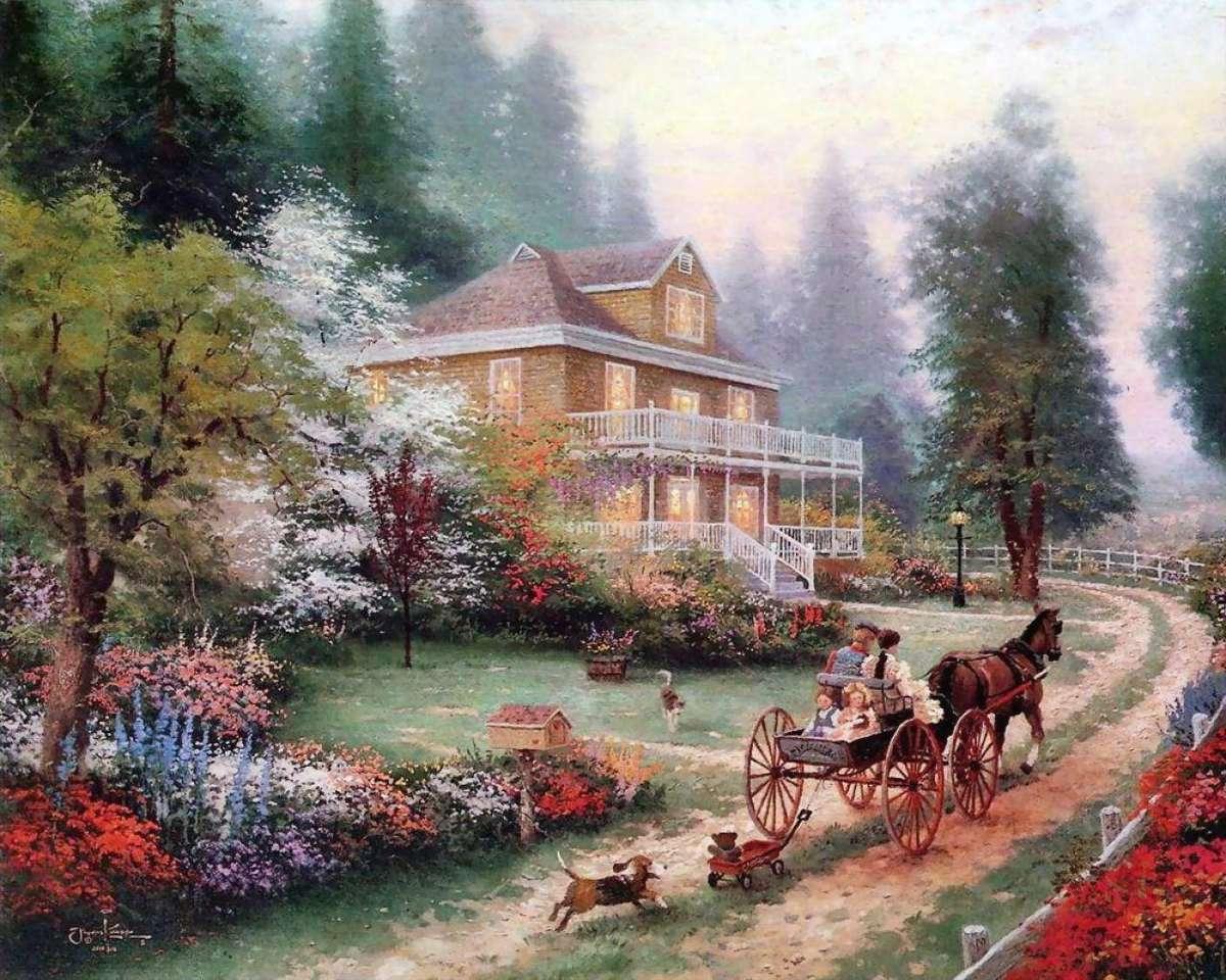 guidare a casa - Dipinto di Thomas Kinkade (10×8)