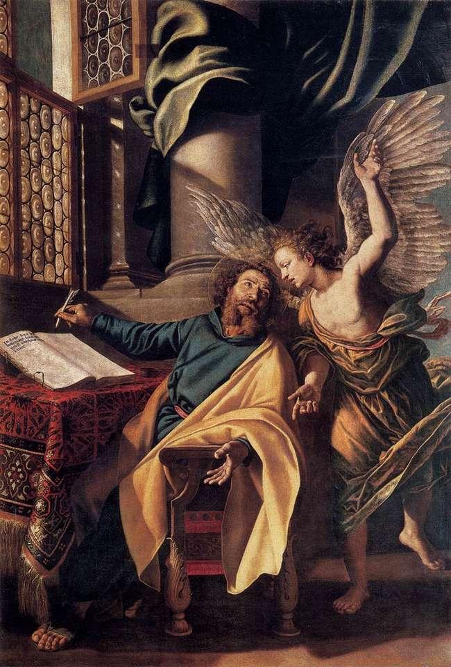 Vincenzo_Campi _-_ St_Matthew_and_the_Angel_- - Św. Mateusz prowadzony przez anioła pisze ewangelię (13×20)