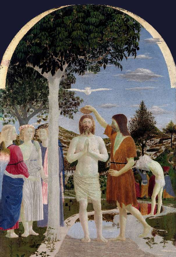 Jesu dop - Målning av Piero della Francesca (7×11)