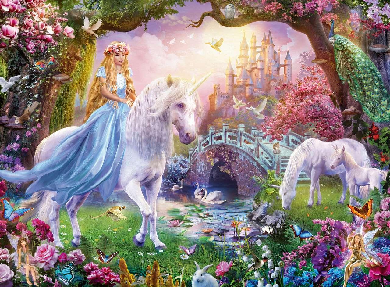 Fantasi värld - Prinsessa, enhörning, slott, älvor, blommor (10×8)