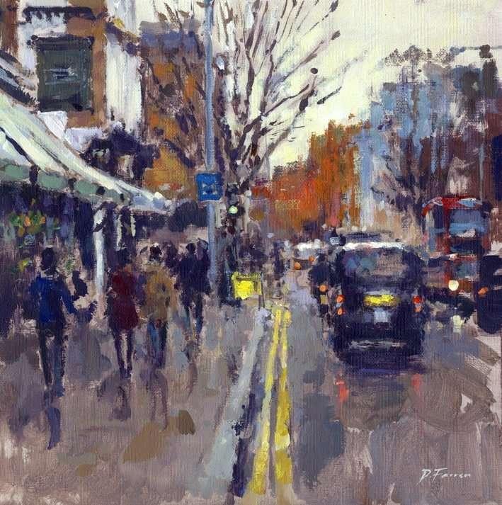 Liten stad - Stad i regnet (9×10)