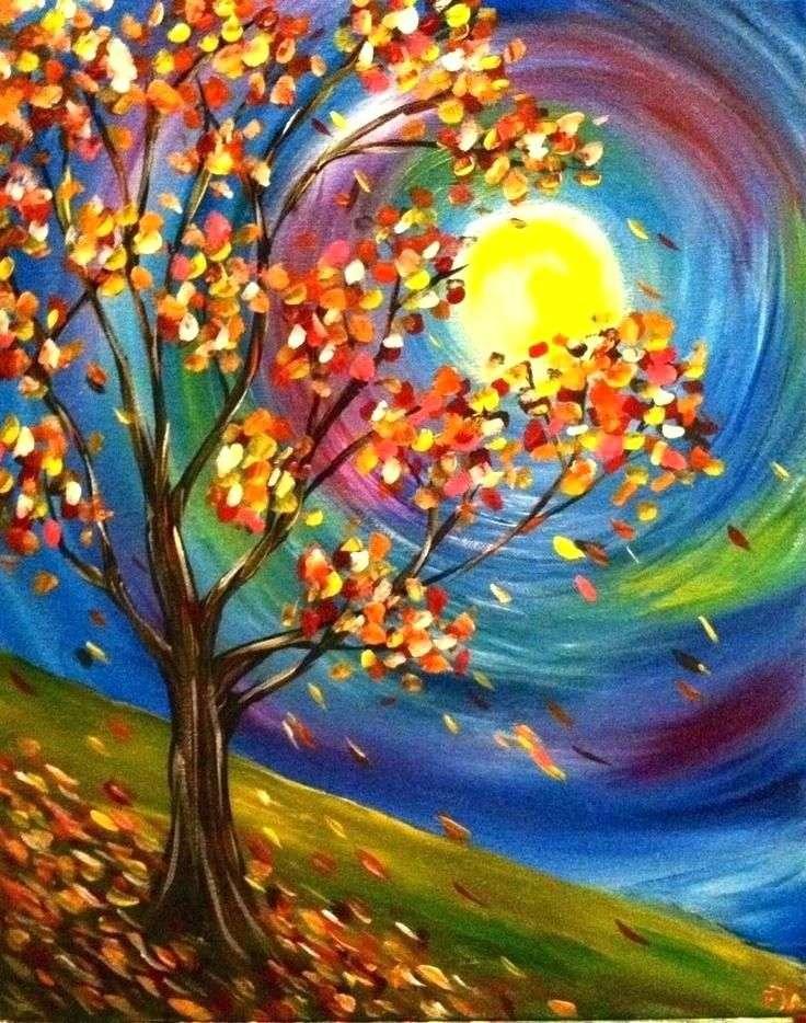 Färgglad höst - Träd från färgade löv, spiralsol (7×10)