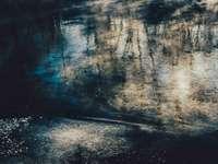 αφηρημένη ζωγραφική σε μπλε και καφέ