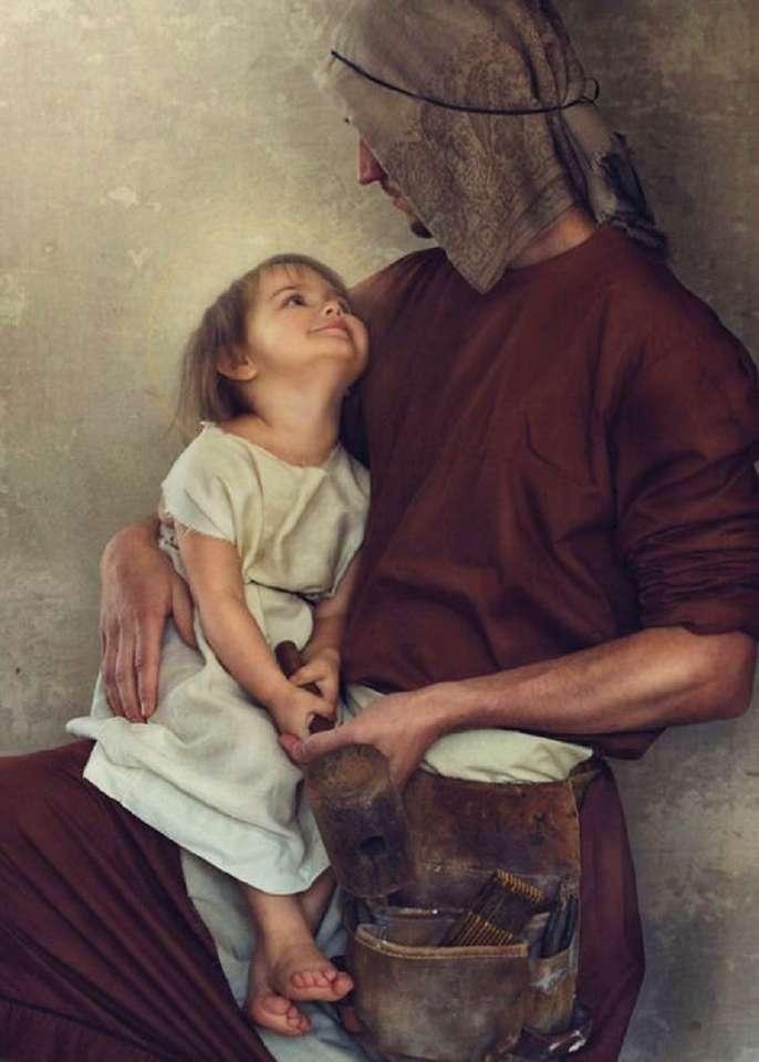 st. Joseph et Jésus - st. Joseph - gardien et charpentier de Jésus (8×12)