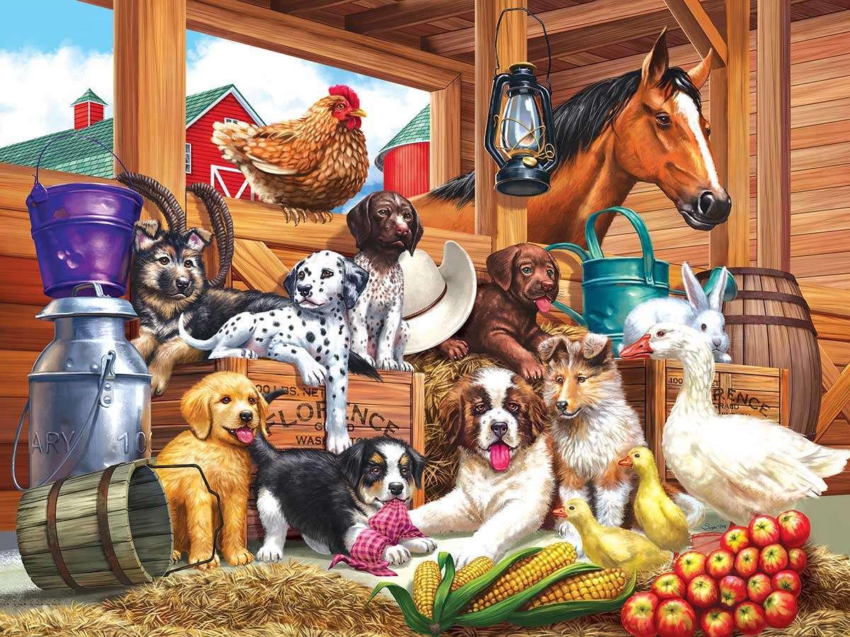 verschillende dieren - Boerderij, honden, paard, eend met kuikens (12×9)