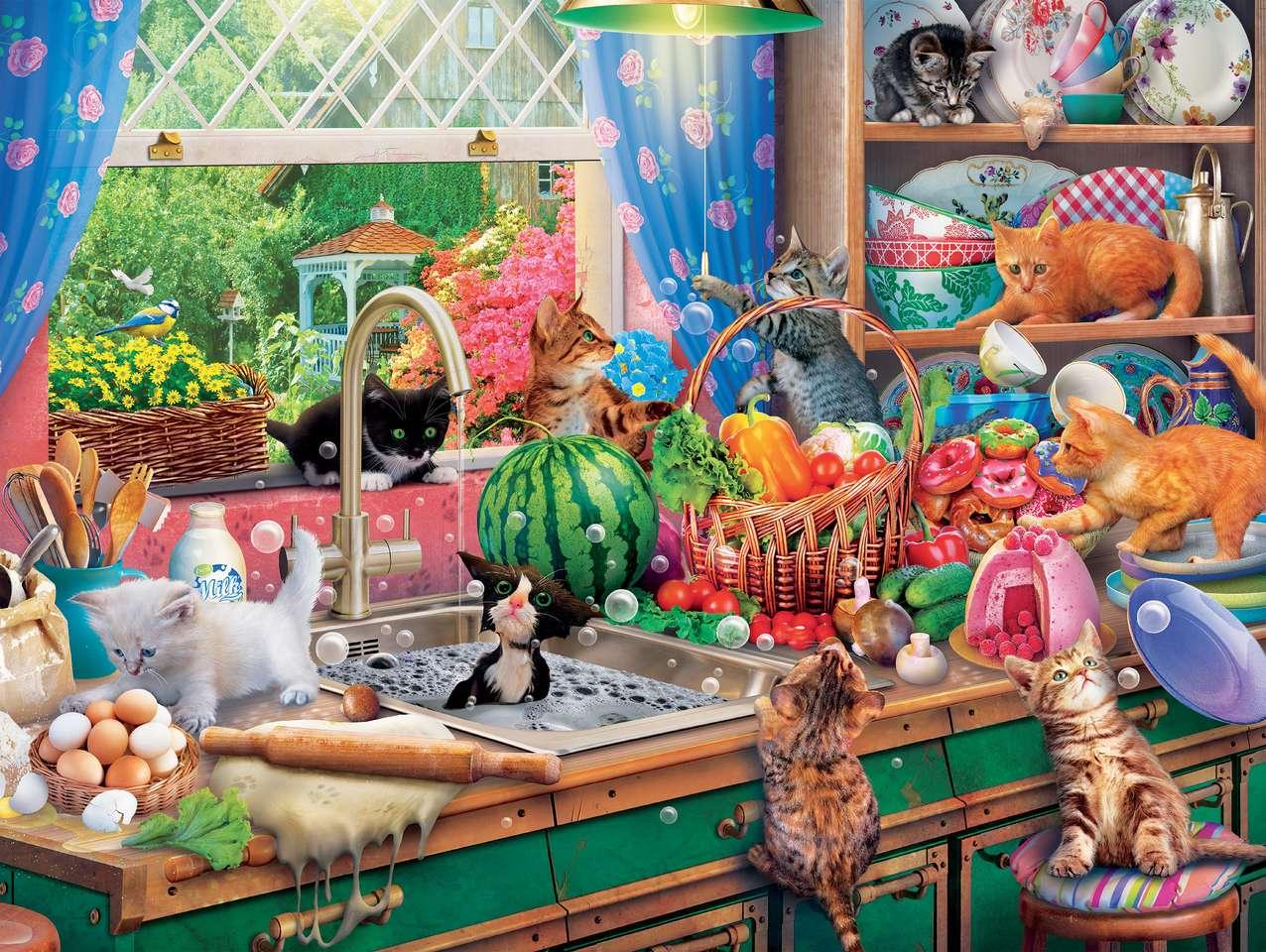 Katten in de keuken - Katten in de keuken, boodschappen, afwas (11×9)