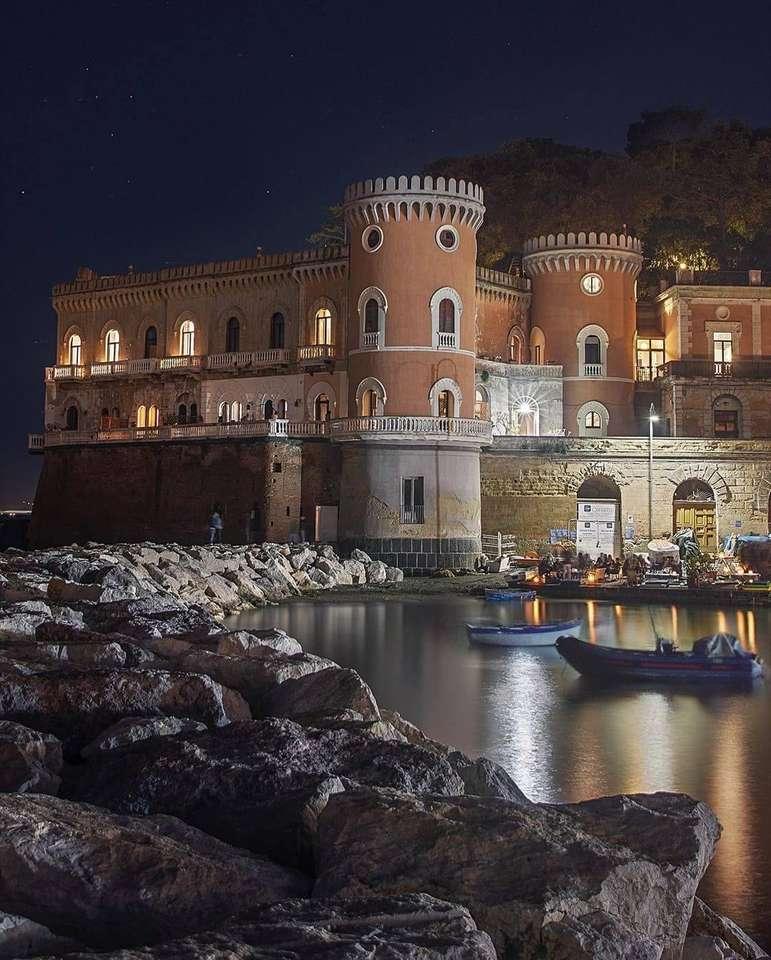 villa Volpicelli Posillipo Neapel Itala - Villa Volpicelli är en monumental struktur i Neapel; Det ligger i Posillipo-distriktet. Villan är redan närvarande i utsikten över Baratta från 1629, (9×12)
