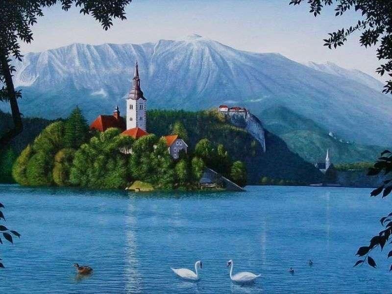 Lac de Bled avec île en Slovénie (14×11)