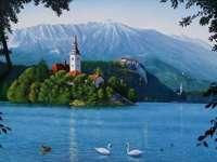 Lago Bled con isla en Eslovenia