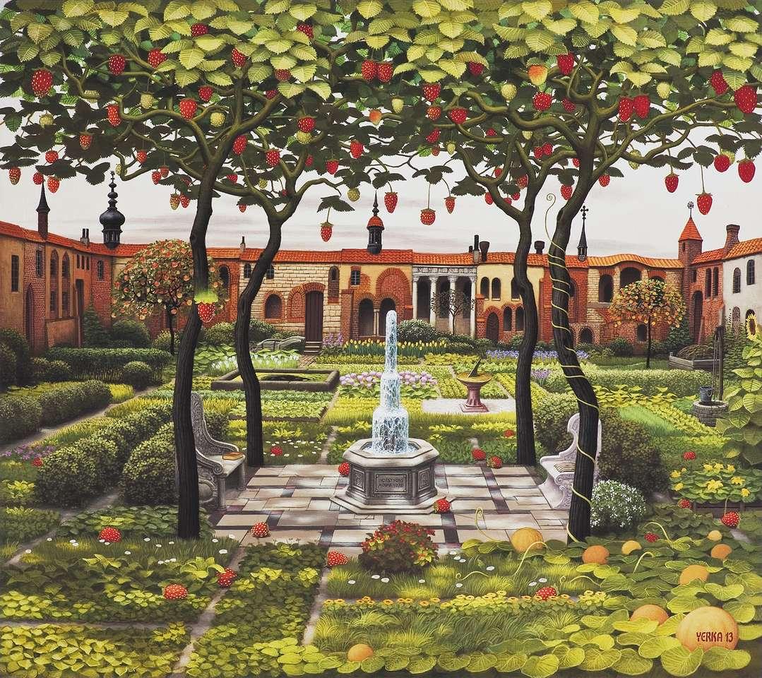 """Strawberry uteplats - """"Strawberry patio"""" av Jacek Yerka (11×10)"""