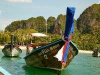 braunes und grünes Boot auf dem Gewässer während des Tages