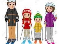 En familia, esquiar