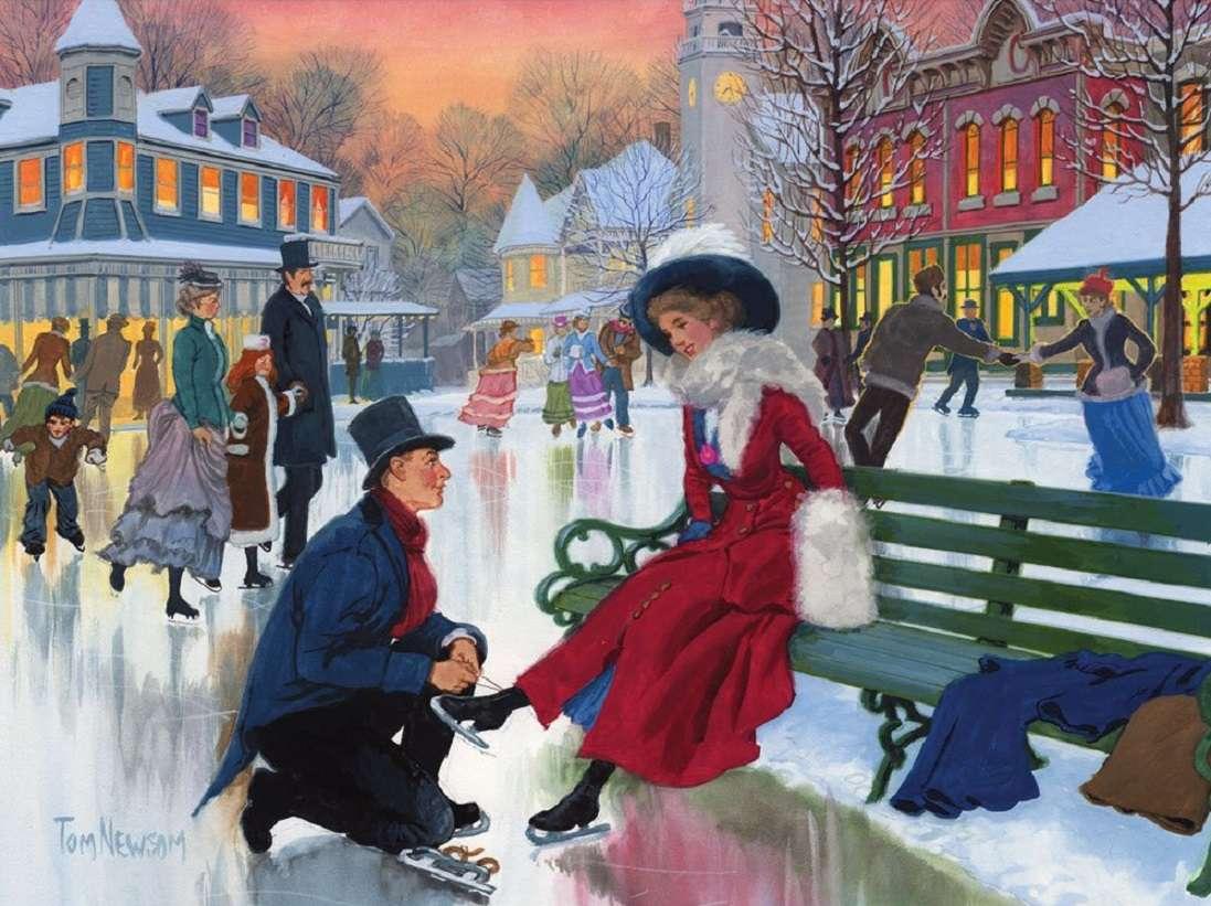 IJs scating - Mensen, schaatsen, winter (12×9)