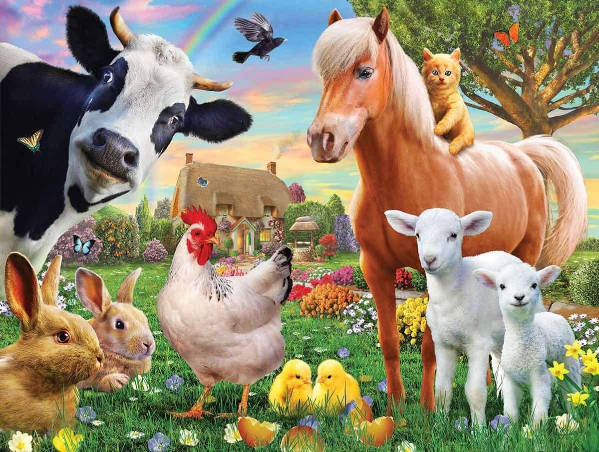 Animali da fattoria - Animali da fattoria, mucca, cavallo, gatto, pollo, agnelli, coniglietti, pulcini (3×3)