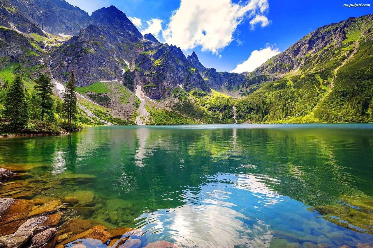 jezero v Tatrách - jezero polských Tater (15×10)