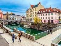 Hlavní město Lublaně ve Slovinsku