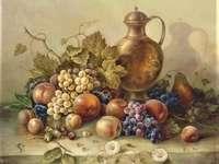 Pintando frutas da natureza morta